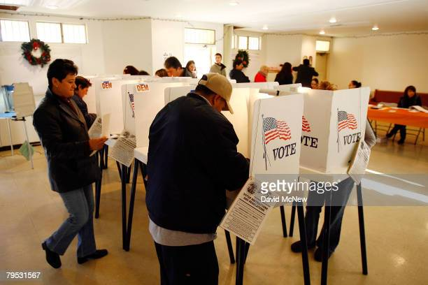 Voters go to the polls for Super Tuesday primaries in the predominantly Latino neighborhood of Boyle Heights on February 5 2008 in Los Angeles...
