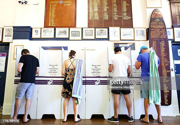Voters head to the polls in Bondi Beach in the electorate of Wentworth on election day on September 7 2013 in Sydney Australia Voters head to the...