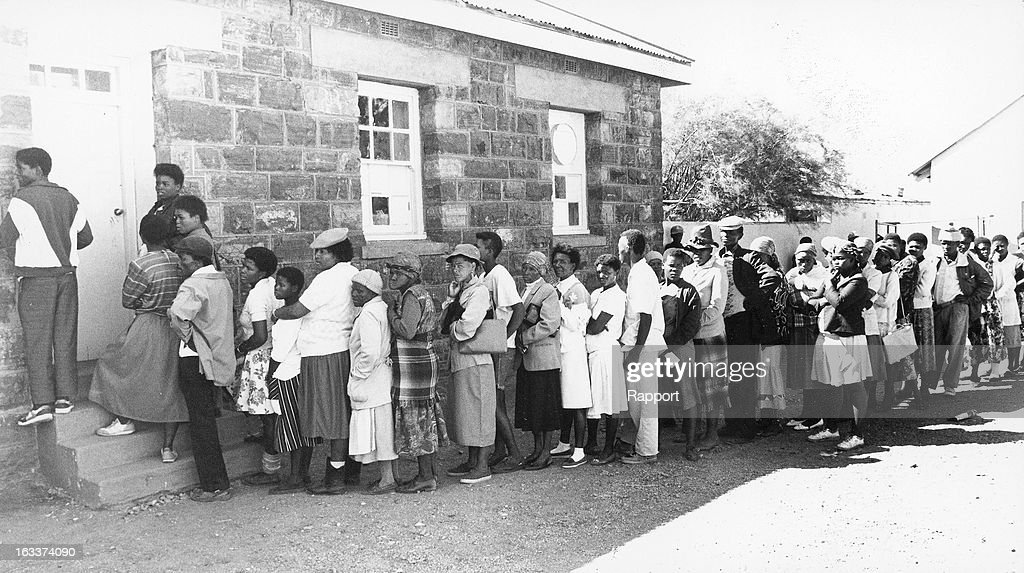 Voters in long queues during the 1994 general elections on April 27, 1994, in South Africa.
