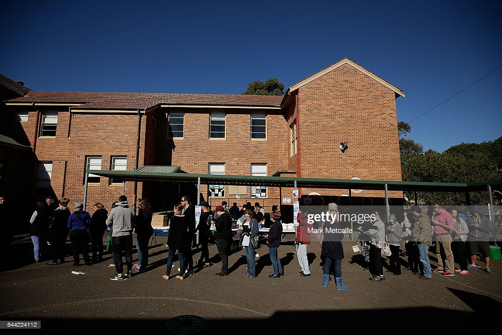 Voters in the electorate of Banks arrive to vote at Padstow Park Public School on July 2, 2016 in Sydney, Australia. Voters head to the polls today to elect the 45th parliament of Australia.Padstow Park Public School