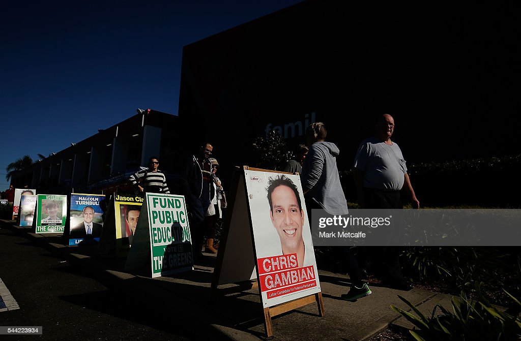 Voters in the electorate of Banks arrive to vote at Revesby YMCA on July 2, 2016 in Sydney, Australia. Voters head to the polls today to elect the 45th parliament of Australia.