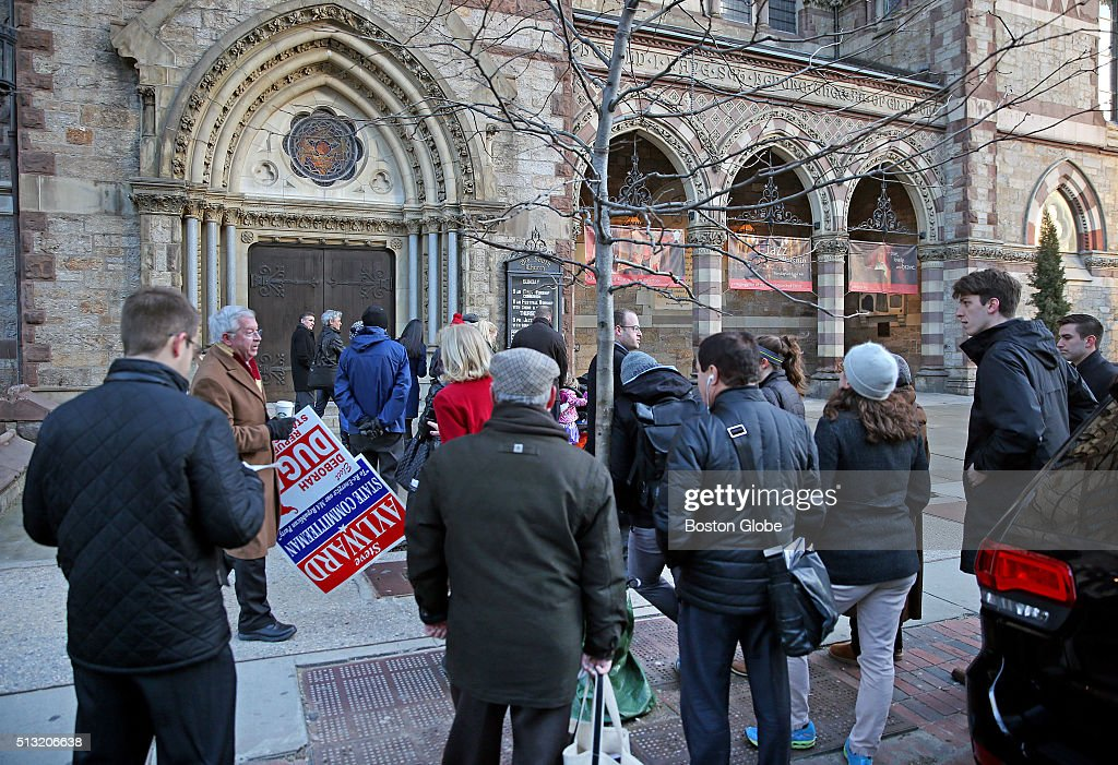 Voters line up to cast their vote in Massachusetts primary at Old South Church in Boston on March 1 2016
