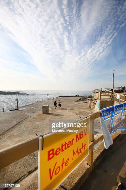 Voters outside of the Clovelly Surf Life Saving Club in the electorate of KingsfordSmith on election day on September 7 2013 in Sydney Australia...