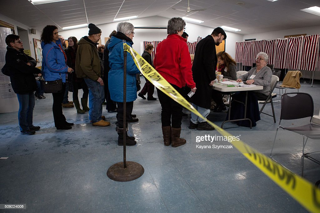 Voters sign up to cast their ballot at First Baptist Church on primary day, February 9, 2016, in Nashua, New Hampshire. Tuesday is the 100th anniversary of the New Hampshire primary, the 'First in the Nation' test for presidential candidates from both parties.
