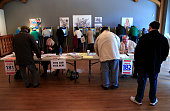Voters take to the polls at Charles Allis Art Museum April 5 2016 in Milwaukee Wisconsin Both Republican and Democratic voters cast their votes in...