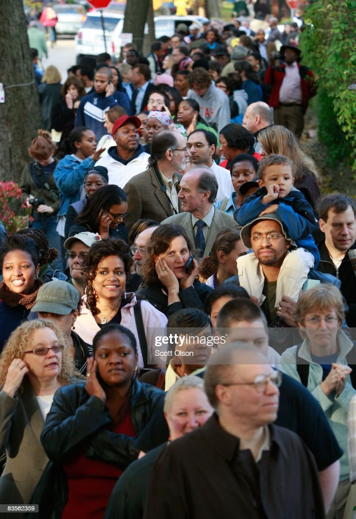 Voters wait to go to the polls at Beulah Shoesmith Elementary School November 4, 2008 in Chicago, Illinois. After nearly two years of presidential campaigning, U.S. citizens went to the polls today to vote in the election between Sen. John McCain (R-AZ) and Sen. Barack Obama (D-IL).