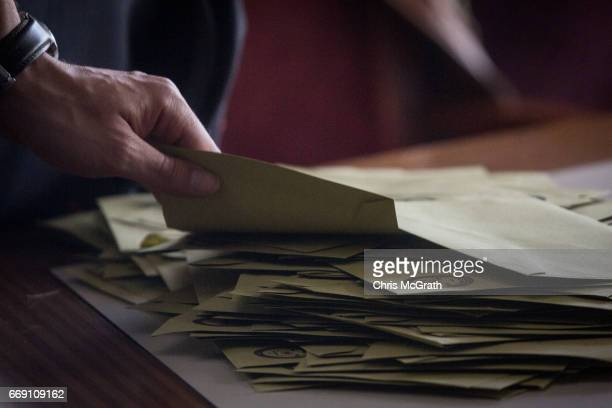 Votes are counted at a polling station on April 16 2017 in Istanbul Turkey Constitutional referendum voting opened across Turkey after months of...