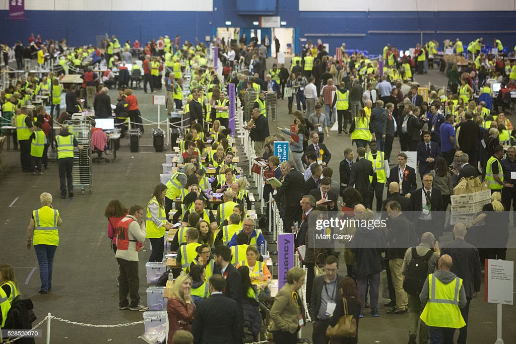 Votes are counted at the Royal Highland Centre, Ingliston, Edinburgh on May 5, 2016 in Edinburgh, Scotland. Polling stations are now closed for what has been described as 'Super Thursday', which saw the British public vote in countrywide elections to choose members for the Scottish Parliament, the Welsh Assembly, the Northern Ireland Assembly, Local Councils, a new London Mayor and Police and Crime Commissioners.