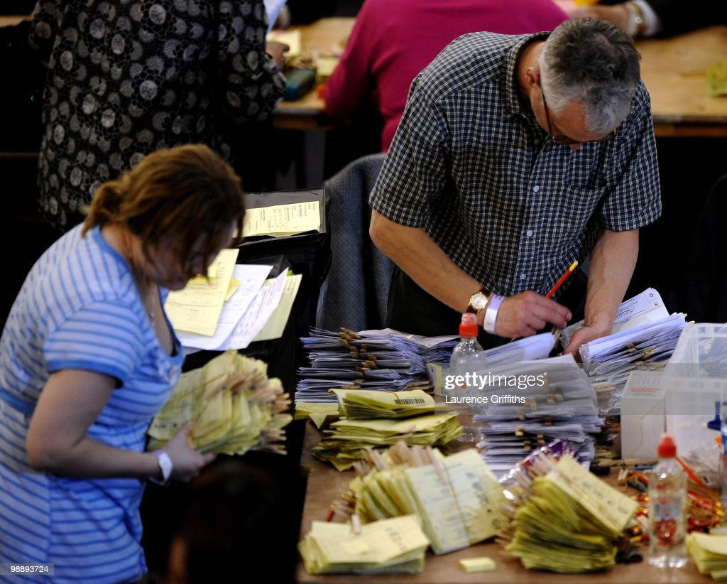 Votes are counted for The 2010 General Election in Ponds Forge International Hall in the Sheffield constituency of Liberal Democrat leader Nick Clegg, on May 6, 2010 in Sheffield, United Kingdom. The UK began voting today in the closest general election for decades with opinion polls suggesting that the United Kingdom is heading for the first hung parliament since 1974.