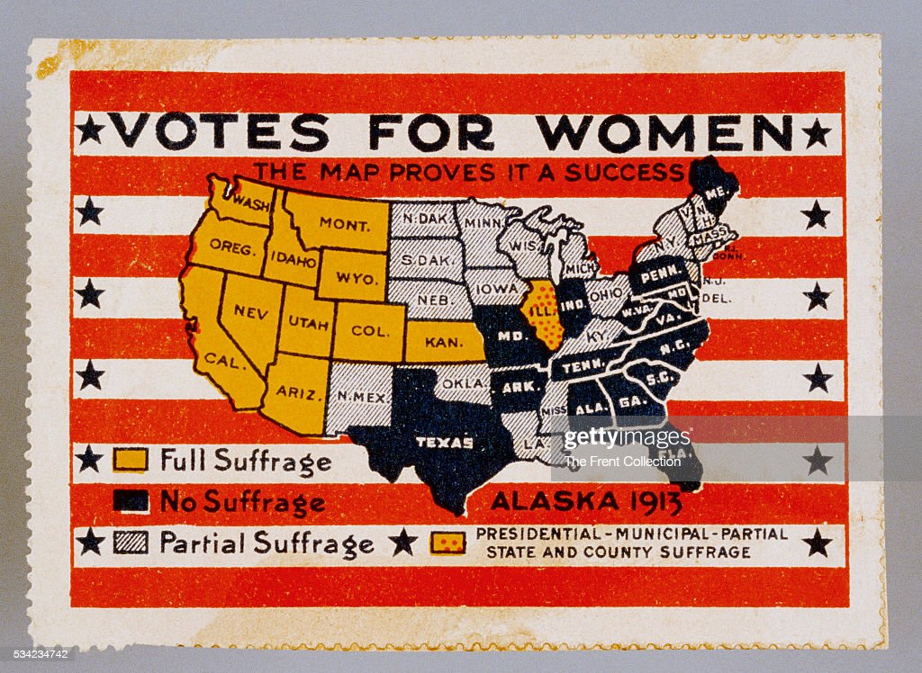 Votes For Women Stamp Pictures Getty Images - Us map of votes