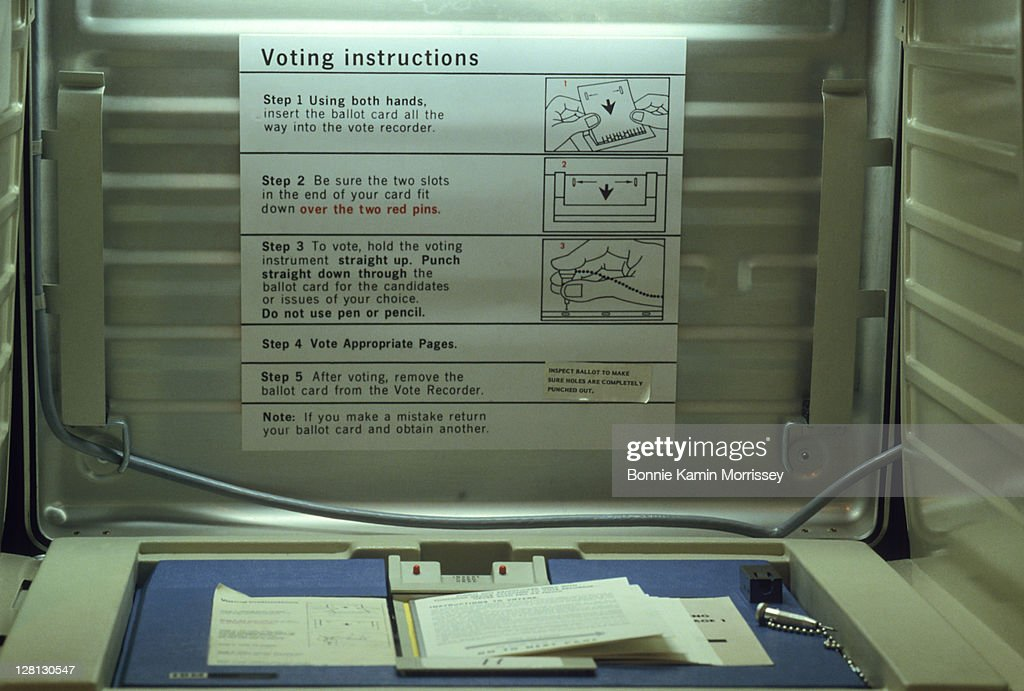 Voting booth at public library, Fairfax, CA : Stock Photo