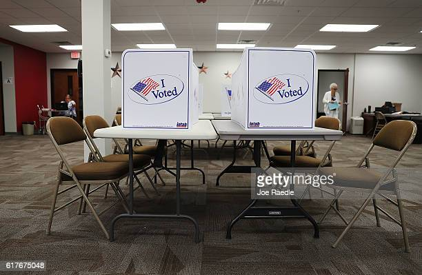 Voting booths are ready for voters at an early voting site in the Supervisor of Elections office on October 24 2016 in Bradenton Florida Today early...