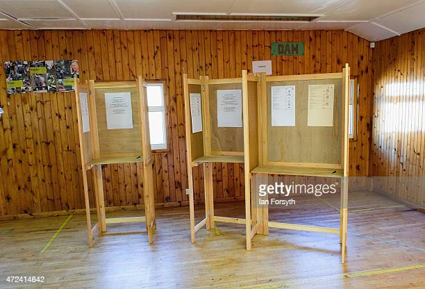Voting booths are ready inside a scout hut used as a polling station on May 7 2015 in Eston England The nation goes to the polls today to vote on...