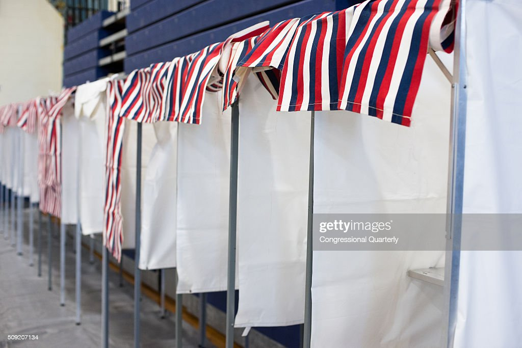 Voting booths are seen at the Londonderry High School where residents vote in the 2016 primaries in Londonderry, New Hampshire on February 9, 2016.