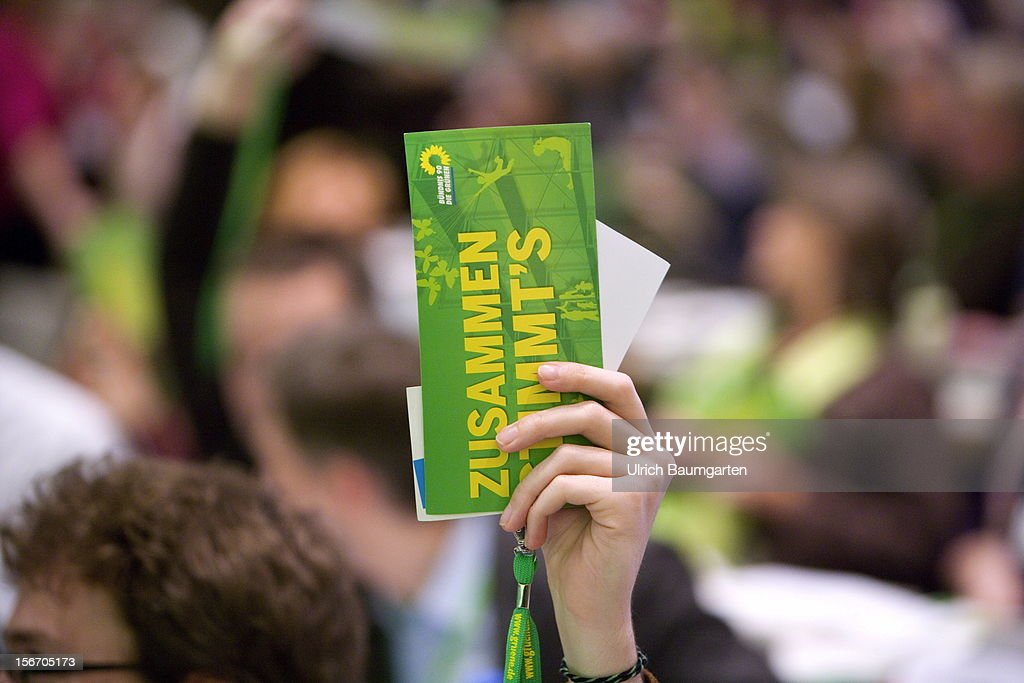 Voting card at the Greens Party federal convention at Hannover Congress Centrum on November 17, 2012 in Hanover, Germany. Germany faces federal elections in 2013 and the Greens Party, which is Germany's third most popular party, could well become a government coalition partner.