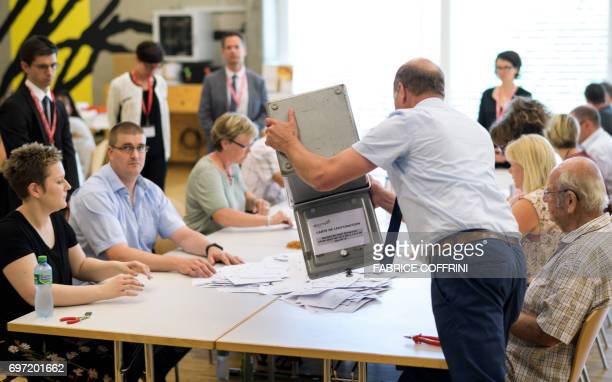 Voting officials of Moutier proceed to the vote counting during an historical anticipated vote on June 18 2017 in Moutier northern Switzerland...