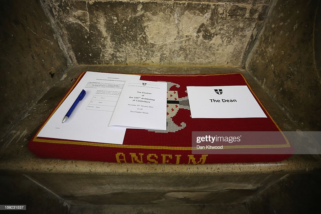 Voting papers are laid out ahead of the election of Justin Welby as the new Archbishop of Canterbury, on January 10, 2013 in Canterbury, England. The College of Canons met today inside the 14th century Chapter House at Canterbury Cathedral to elect the new Archbishop after receiving the 'Conge d' Elire' and 'Letter Missive' from the Crown authorising the election to take place. Welby, currently the Bishop of Durham, will take over from Dr Rowan Williams, the 104th Archbishop of Canterbury, who stepped down from the position on December 31, 2012.