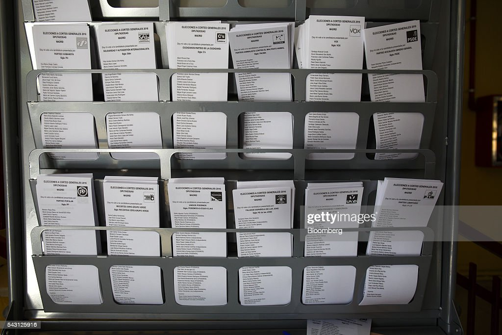 Voting papers stand in a shelving rack during the Spanish general election in Madrid, Spain, on Sunday, June 26, 2016. Spaniards began voting on Sunday in the second election in six months as the U.K. decision to leave the European Union adds to the uncertainty as the nation seeks to break a political deadlock. Photographer: Angel Navarrete/Bloomberg via Getty Images