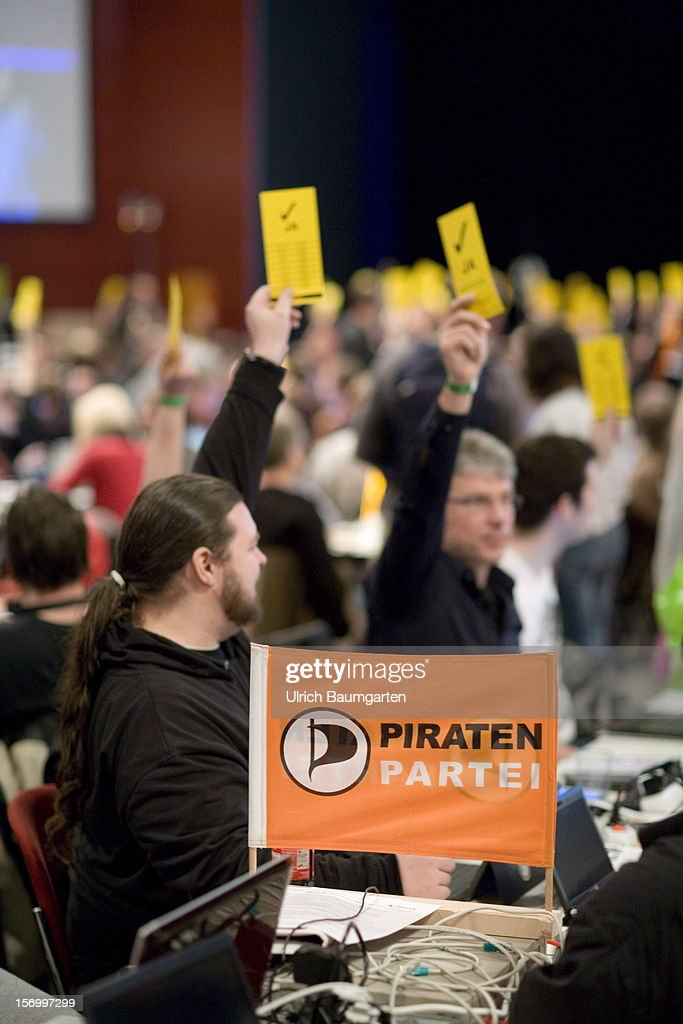 Voting participants at the Pirate Party National Convention at RuhrCongress on November 24, 2012 in Bochum, Germany. German Pirates have a lot to achieve as the party is flagging in the polls and facing national elections in less than a year.