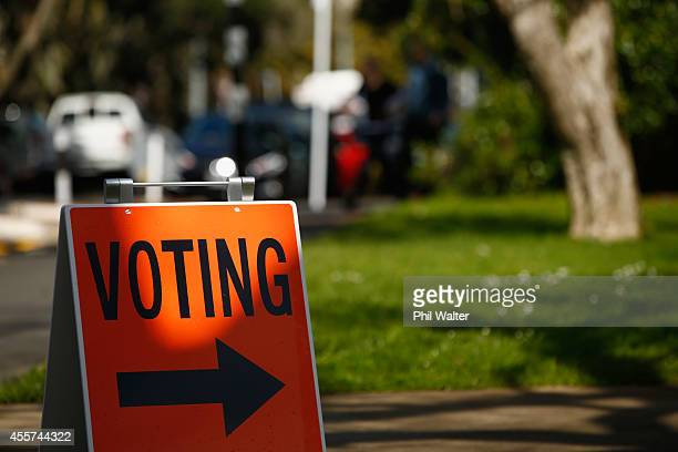 Voting signs are pictured at the Parnell District School on September 20 2014 in Auckland New Zealand Voters head to the polls today to elect the...