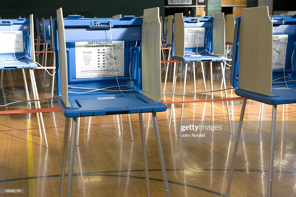 Voting stations at the gym at Greenfield High School, which was used as a polling place for residents to vote,Greenfield, Massachusetts, USA 8 June 2010 : Stock Photo