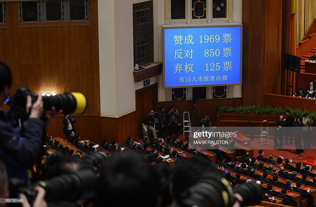 A voting tally board (top R) shows the unusual result of 850 votes against for members of the environmental protection committee during the election of the new vice premiers, foreign and defense ministers of China during the 12th National People's Congress (NPC) in the Great Hall of the People in Beijing on March 16, 2013. China's parliament named Xi Jinping as president on March 15 four months after he took charge of the Communist Party with pledges of reform that have raised hopes but so far yielded little change. AFP PHOTO / Mark RALSTON