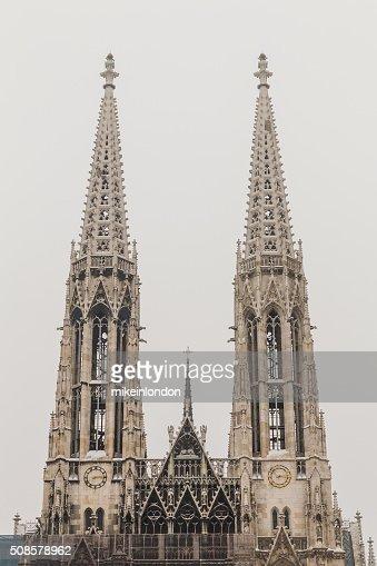 Votive Church in Vienna in the winter : Stock Photo