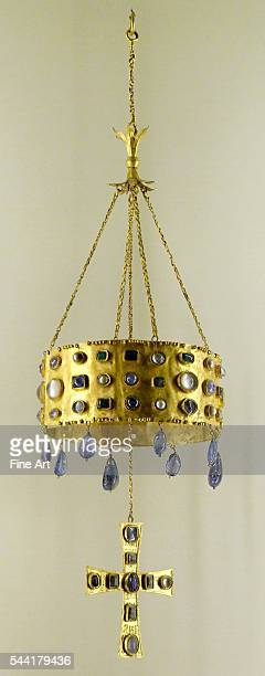 Votive crown Gold and glass Visigothic Spain 7th century From the Guarazzar Treasure near Toledo discovered 1858 Musee National du Moyen Age Thermes...