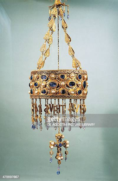 Votive crown of the Visigoth king Recesvinto gold and precious stones from the treasury of Guarrazar Goldsmith art Visigoth civilization 7th century...