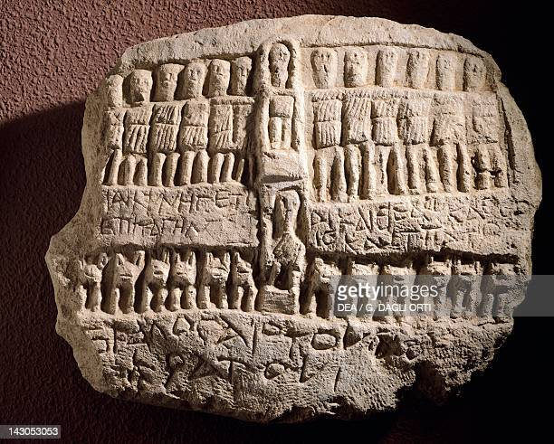 Votive stela dedicated to Artemisia surrounded by twelve gods Artefact from Antiphellos at Kas Turkey Anatolian civilisation Antalya Archaeological...