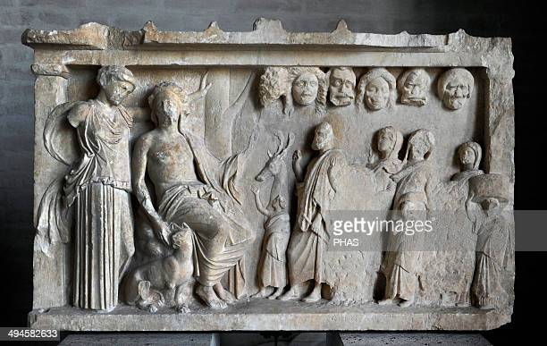 Votive stele depicting a sacrificial procession to Dionysus and Artemis for the win in a contest of theater Votive offering ca 360 BC Glyptothek...