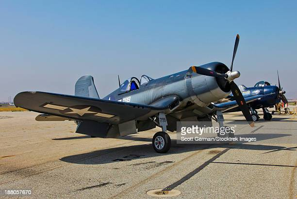 A Vought F4U-1 Corsair aircraft, Chino, California.
