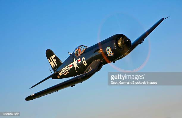 A Vought F4U-5N Corsair aircraft in VMF(N)-513 markings of The Flying Nightmares, Crystal Lakes, Montana.
