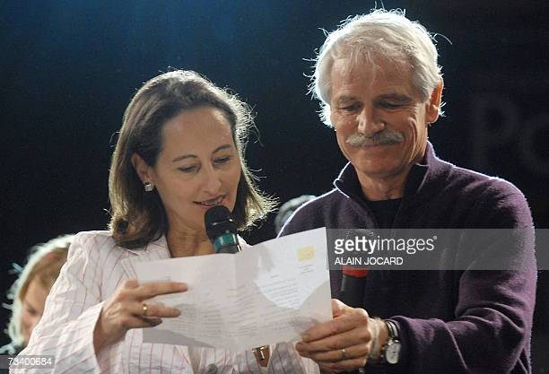 French socialist candidate for the presidential election Segolene Royal and French photographer Yann ArthusBertrand reward students who won an...