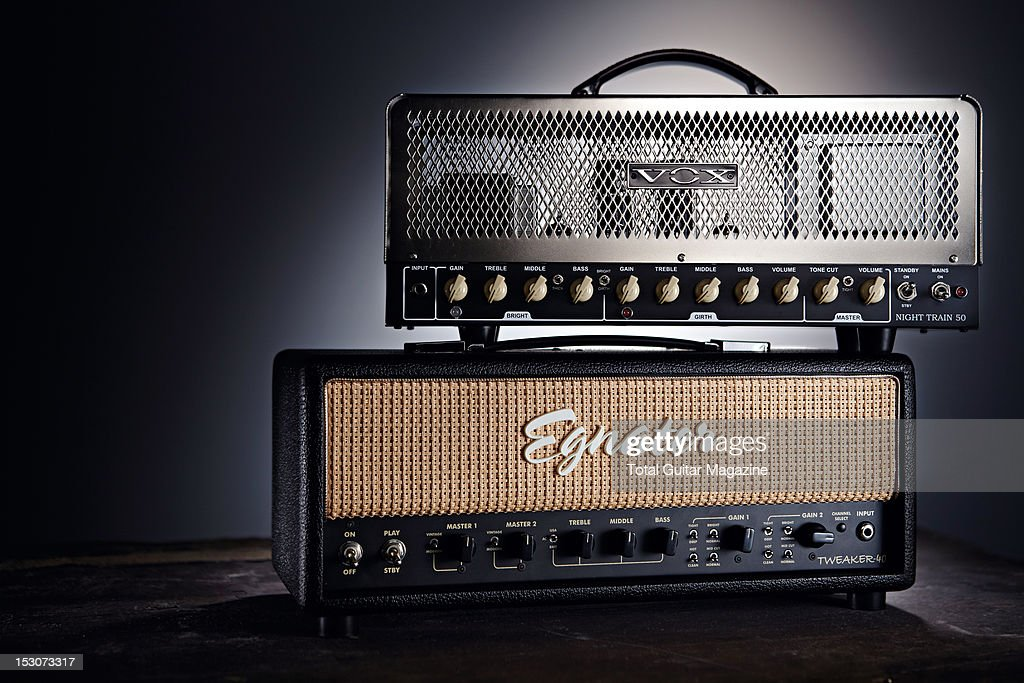 Vox Night Train 50 (top) and Egnater Tweaker-40 electric guitar amplifier head units, photographed during a studio shoot for Total Guitar Magazine, February 20, 2012.