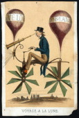 a man riding on a bicyclelike flying machine while looking through a telescope attached to the front engraving c 1865