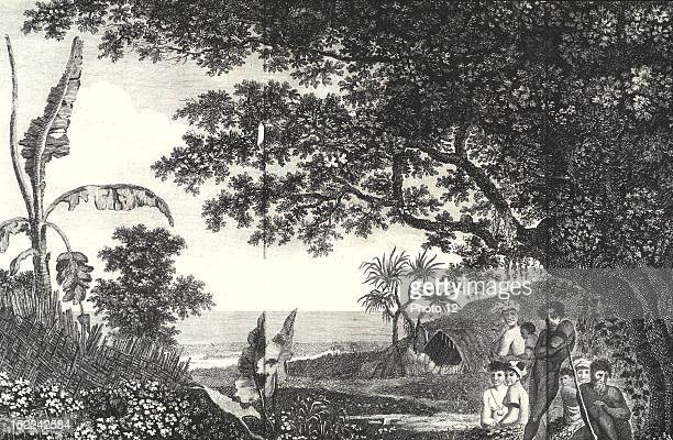 Voyage de James COOK Gravure de William Travels of James COOK Engraving by William Hodges Funeral ceremony in Voyage around the world in the southern...