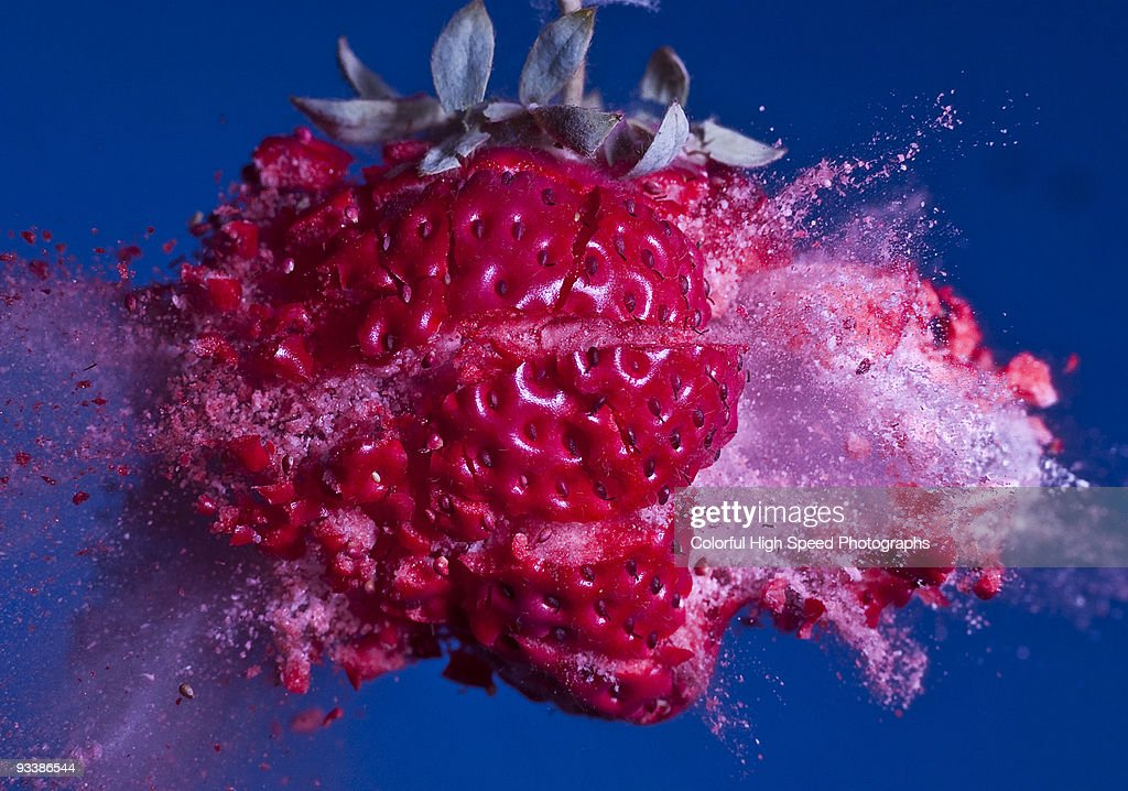 Voyage to the Planet of Frozen Strawberries : Stock Photo