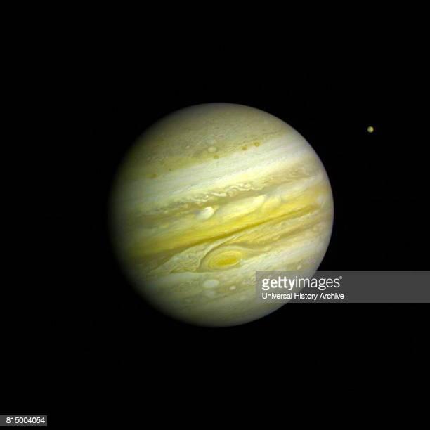 Voyager 1 took this photo of Jupiter Feb 1 1979 Jupiter and io