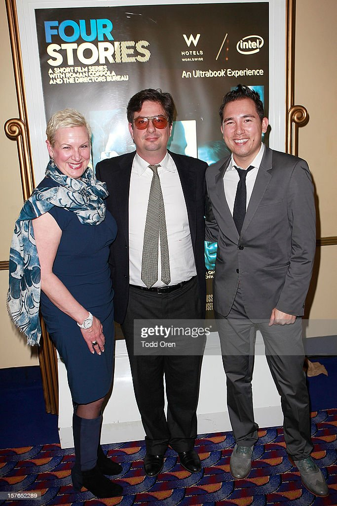 VP-Chief Marketing Officer of Intel Deborah Conrad, Director <a gi-track='captionPersonalityLinkClicked' href=/galleries/search?phrase=Roman+Coppola&family=editorial&specificpeople=615097 ng-click='$event.stopPropagation()'>Roman Coppola</a> and Global Brand Manager of W Hotels George Fleck pose at the Intel and W Hotels present Four Stories Film Series at W Hotel Los Angeles - Westwood on December 4, 2012 in Westwood, California.