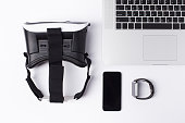 Vr, Smartphone, Laptop, Smartwatch on white background. Concept for vr, game, simulate and technology.