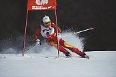 Vreni Schneider of Switzerland during the International Ski Federation Women's Giant Slalom at the FIS Alpine World Ski Championship on 5 February...