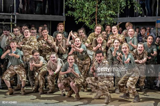 vThe Company perform on stage during a performance of 'Silver Birch' a new opera by Roxanna at Garsington Opera at Wormsley on July 26 2017 in High...