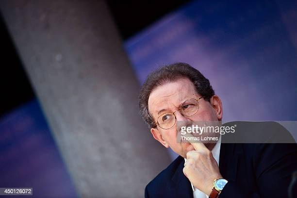 Vítor Constancio vicepresident of the European Central Bank listens during a news conference at the bank's headquarters on June 5 2014 in Frankfurt...
