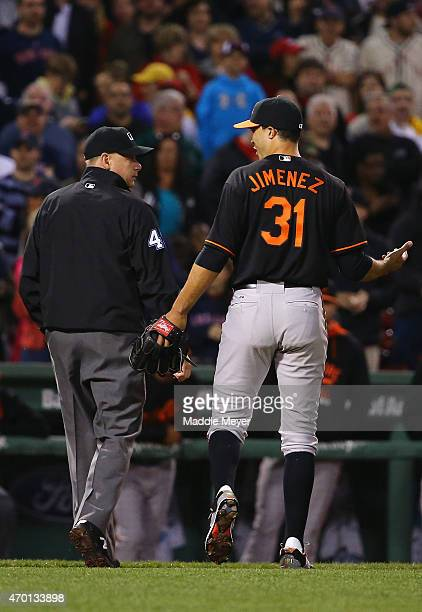 vUbaldo Jimenez of the Baltimore Orioles s ejected after hitting Pablo Sandoval of the Boston Red Sox with a pitch during the fourth inning at Fenway...