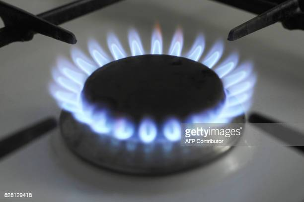Vue d'un brûleur d'une cuisinière à gaz en activité le 22 juin 2010 à Strasbourg GDFSuez réclame une hausse de 5% des prix du gaz au 1er juillet...