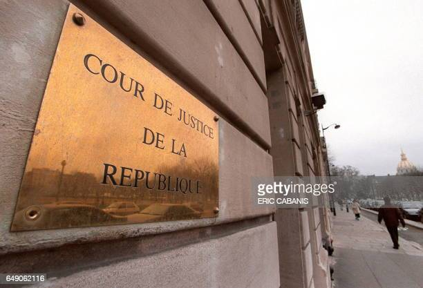 Vue le 02 février à Paris de la plaque de la Cour de Justice de la République rue de Constantine à l'entrée des bureaux de cette juridiction spéciale...
