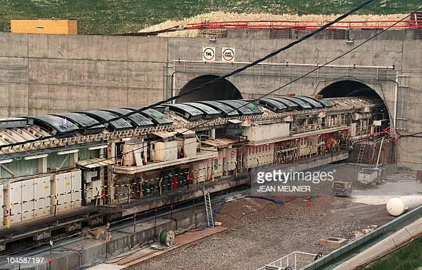 Vue prise le 27 février 1990 à Sangatte sur le chantier du tunnel sous la Manche construit par la société Eurotunnel Partial view of the construction...
