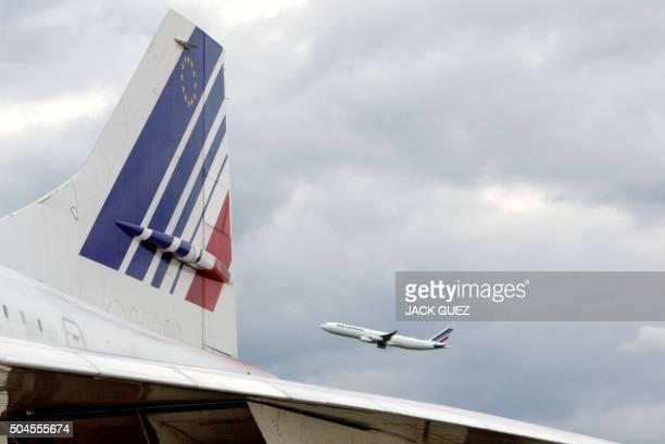 Vue réalisée le 12 mai 2003 à l'aéroport de Roissy Charles de Gaulle de l'empennage d'un avion supersonique francobritannique Concorde Le dernier vol...