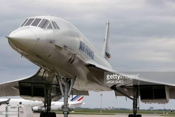 Vue réalisée le 12 mai 2003 à l'aéroport de Roissy Charles de Gaulle d'un avion supersonique francobritannique Concorde Le dernier vol commercial du...
